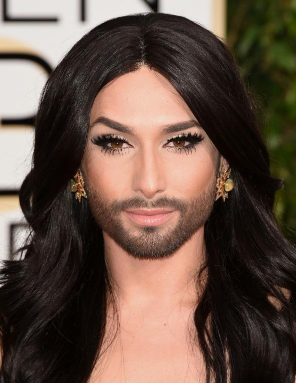 Vainqueur de l'Eurovision 2014 Conchita Wurst, 11 janvier 2015 à Beverly Hills, Californie (GETTY IMAGES AMERIQUE DU NORD / AFP - Jason Merritt)