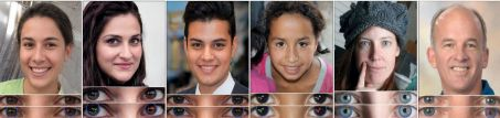 En analysant les reflets de la lumière dans les yeux, un algorithme est parvenu dans 94 % des cas à diifférencier les visages truqués (les trois portraits de gauche) des vrais (les trois de droite).