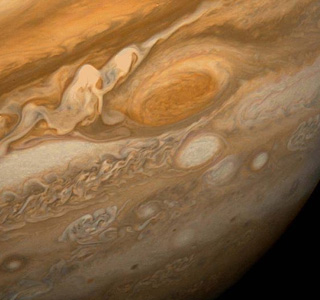 De grote rode vlek op Jupiter. Foto: NASA.