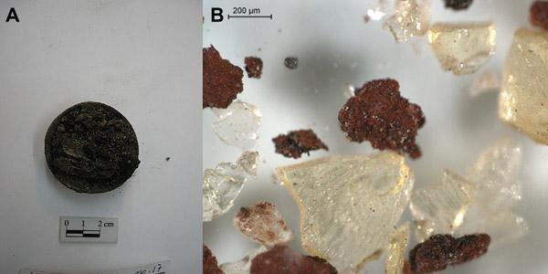 Links een potje met cosmetica. Rechts: organisch materiaal dat tussen de pigmenten werd aangetroffen. Foto's: Journal of Archaeological Science 39 (2012) 1043-1062.