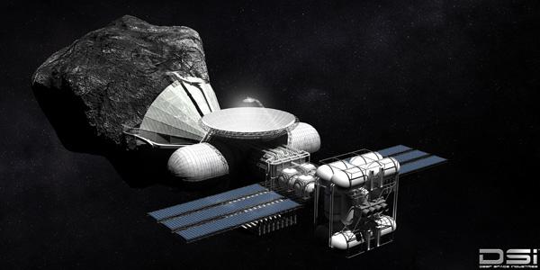 Grondstoffen oogsten in de ruimte. Afbeelding: