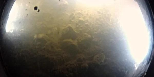 De onderzoekers maakten ook beelden onder het ijs. Hier ziet u de bodem van het meer dat overduidelijk bedekt is met tal van sedimenten. Foto: Dr. Alberto Behar / JPL / ASU / NSF / NASA.