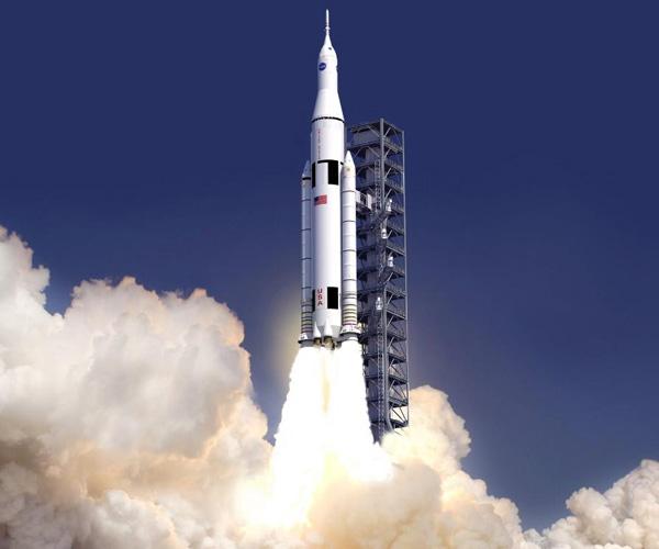 Een artistieke impressie van het Space Launch System. Afbeelding: NASA.