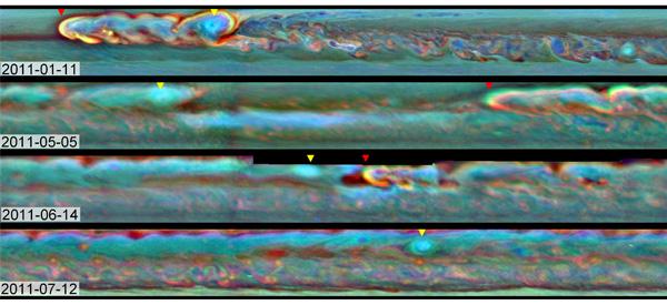 De storm op Saturnus. Foto: NASA/JPL-Caltech/SSI/Hampton University.