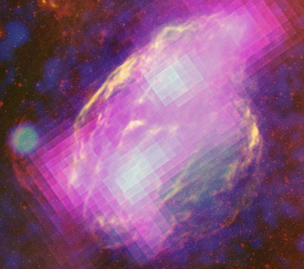 Supernovarestant W44. In magenta de gammastraling ide ontstaat wanneer gas met kosmische straling gebombardeerd wordt. Foto: NASA/DOE/Fermi LAT Collaboration, NRAO/AUI, JPL-Caltech, ROSAT.