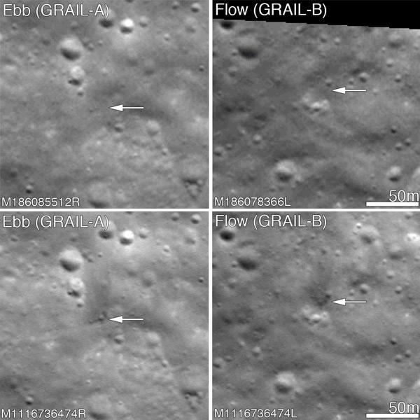 Boven de situatie voor de inslag. Onder de situatie na de inslag. Foto's: NASA / GSFC / Arizona State University.