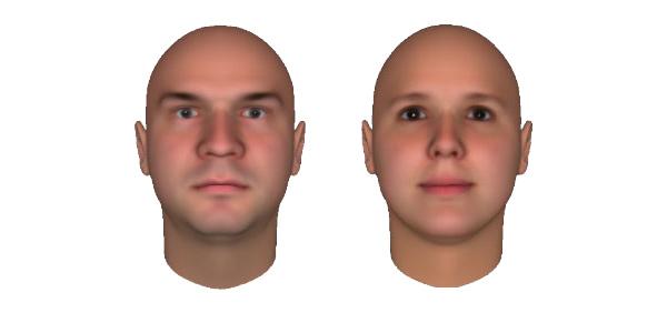 een mannen- en een vrouwengezicht