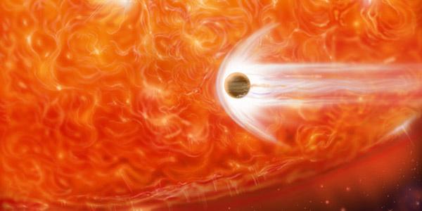 Een planeet komt te dicht bij een rode reus in de buurt. Afbeelding: NASA.