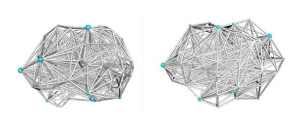 Links de verbindingen van een gezond brein, rechts de verbindingen van een persoon met BDD. Het BDD brein heeft gemiddeld meer lokale verbindingen in aparte breindelen. De blauwe bolletjes geven aan waar de breindelen 'beginnen' en 'eindigen'. Foto: UCLA (University of California)