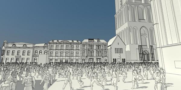 Crowdsimulatie op het Domplein, gemaakt door  de studenten Jordy Boot en Christian Boer.