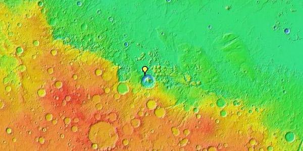 Curiosity bevindt zich in de Gale-krater. De Gale-krater ligt op het grensgebied van de laaglanden naar de hooglanden, zoals goed te zien is op de bovenstaande hoogtekaart.