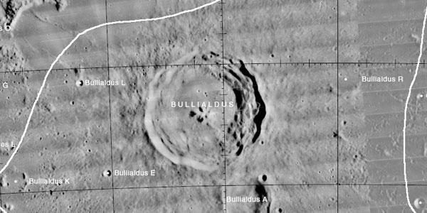 De Bullialdus-krater. Afbeelding: USGS Digital Atlas of the Moon.