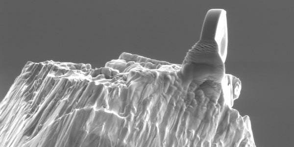 de lens op het topje van een naald