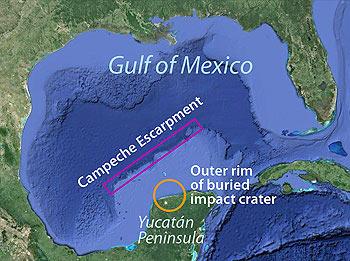 De Golf van Mexico, met de klif (Campeche Escarpment). Afbeelding: Google Earth.
