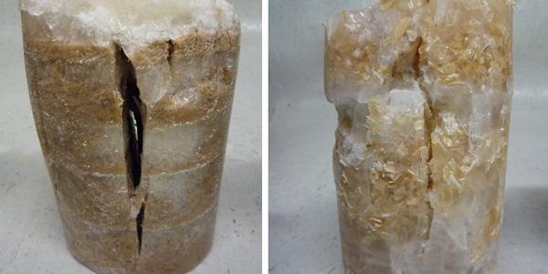 Links ijs met zaagsel, rechts ijs met houtvezels. Afbeeldingen: Pykretedome.com.