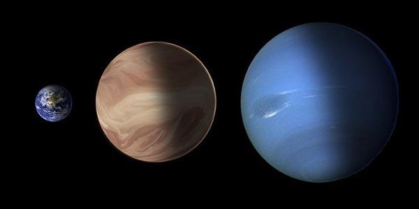 Een superaarde (midden) heeft een massa die groter is dan de massa van de aarde (links) en kleiner dan de massa van Neptunus (rechts). Afbeelding: NASA / ESA / STScI-PRC14-06b.