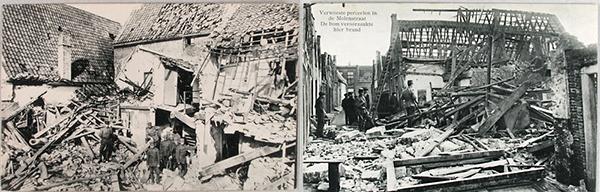 Links: De verwoesting die de bommen aanrichten in de Kapellestraat in Sluis. Rechts: Schade in de Molenstraat in Zierikzee. Gareelmaker Leijdekker woonde eerst in Zuid-Afrika en was voor de Boerenoorlog gevlucht. Nu werd hij alsnog door Engelse bommen gedood. Bron: ZB/Beeldbank Zeeland