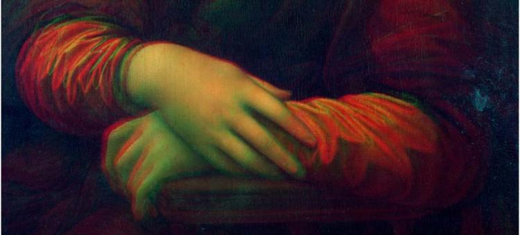 De handen van Mona Lisa in 3D.