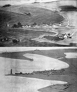 'An Apparently Innocent Landscape'. Deze afbeelding verscheen in de krant in 1914 en zorgde voor onrust onder de bevolking. Bron: The Illustrated War News (7 October 1914)