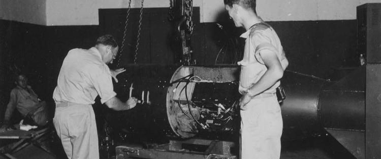 De atoombom 'Little Boy'. Deze bom werd in 1945 op Hiroshima gegooid.