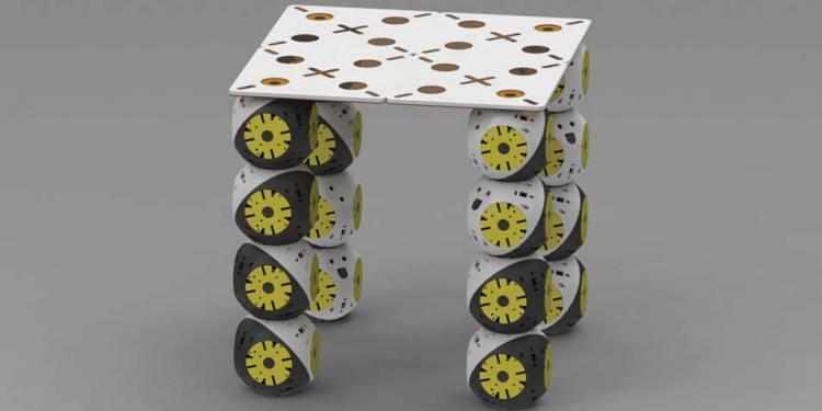 Een tafel bestaande uit robotische modules en een passief element. Afbeelding: Biorobotics Laboratory, EPFL.