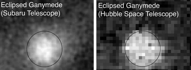 Een verduisterde Ganymedes. Afbeelding: NAOJ / JAXA / Tohoku University.