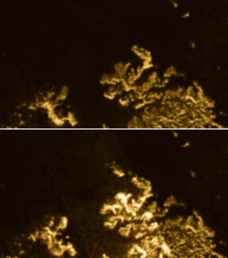 Boven: de gebruikelijke kustlijn van Ligeia Mare. Onder duikt het mysterieuze eilandje op. Afbeeldingen: NASA / JPL-Caltech / Cornell.