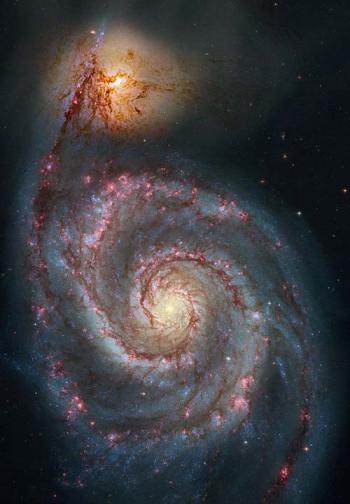 De Draaikolknevel in normaal licht. Deze foto is gemaakt door de Hubble-ruimtetelescoop.