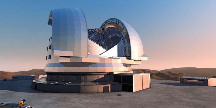 Een artistieke impressie van de European Extremely Large Telescope. Afbeelding: ESO.