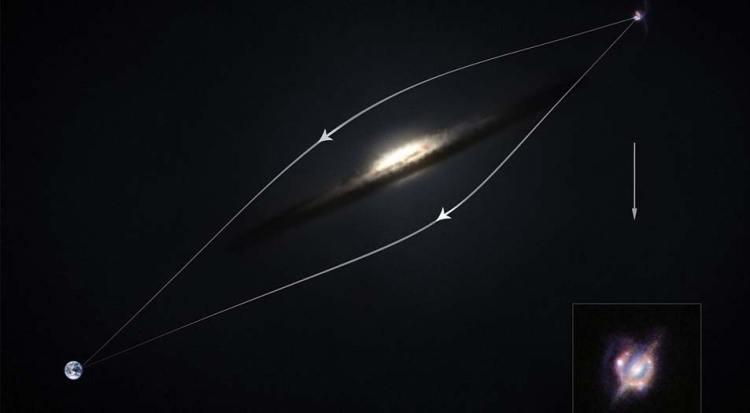 Een kosmisch vergrootglas. Afbeelding: ESO / M. Kornmesser.