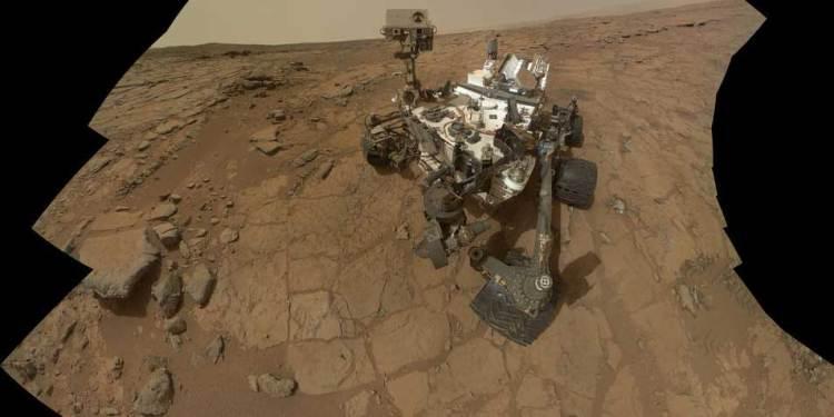 Marswagentje Curiosity. Afbeelding: NASA.