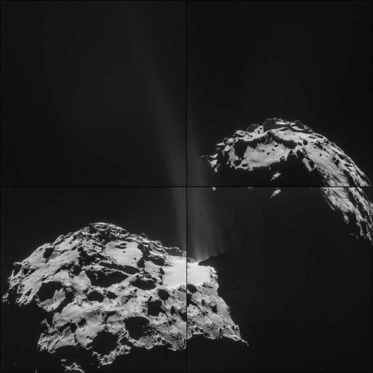 Op deze foto's - die Rosetta recentelijk maakte - is goed te zien dat de komeet water verliest. Afbeelding: ESA / Rosetta / NAVCAM.