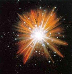 Een oerknal wordt vaak zo afgebeeld, maar dit is niet correct. In het geval van deze afbeelding zou het betekenen dat de toeschouwer zich buiten het heelal bevindt. De beste weergave van de oerknal is een witte pixel: oneindig veel energie in een piepklein punt.