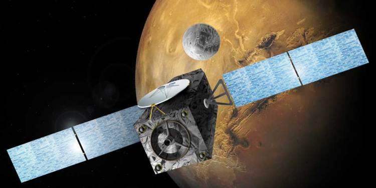 De orbiter en EDM nemen afscheid. Afbeelding: ESA.