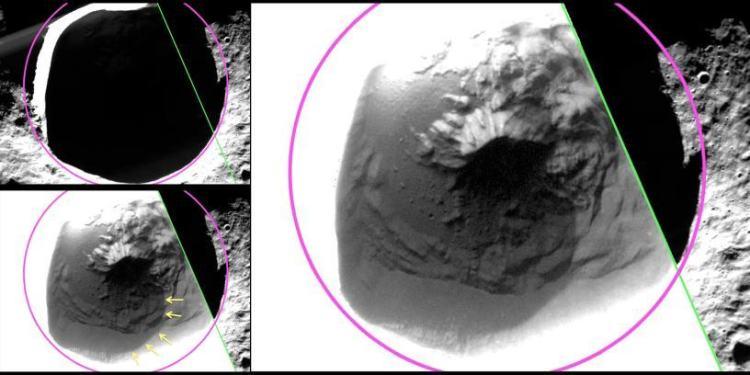 Hier zien we de schaduwrijke Fuller-krater. De beelden laten voor het eerst details van het beschaduwde oppervlak in de krater zien. In de krater is het niet koud genoeg om waterijs aan het oppervlak in stand te houden, maar net onder het oppervlak moet waterijs wel langdurig kunnen bestaan. Het ijs gaat waarschijnlijk schuil onder een laag organische stoffen (op de afbeelding aangeduid met de gele pijlen) die is achtergebleven nadat het waterijs aan het oppervlak is verdwenen. Afbeelding: NASA / Johns Hopkins University Applied Physics Laboratory / Carnegie Institution of Washington.