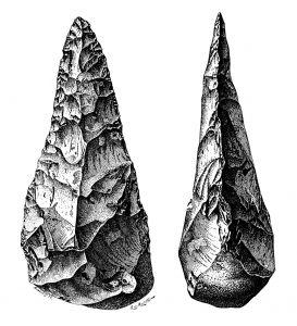 Een Acheuléen-vuistbijl. Afbeelding: A. de Mortillet (via Wikimedia Commons).
