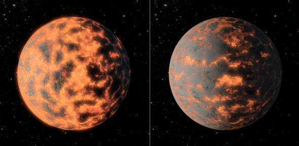 Deze artistieke impressie laten de dagzijde van 55 Cancri e zien voor- (links) en nadat (rechts) er mogelijk grootschalige vulkanische activiteit is geweest. Afbeelding: NASA / JPL-Caltech / R. Hurt.