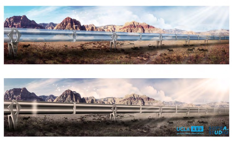 De tunnel van Las Vegas naar Los Angeles. Dit neigt toch een beetje naar landschapsvervuiling.