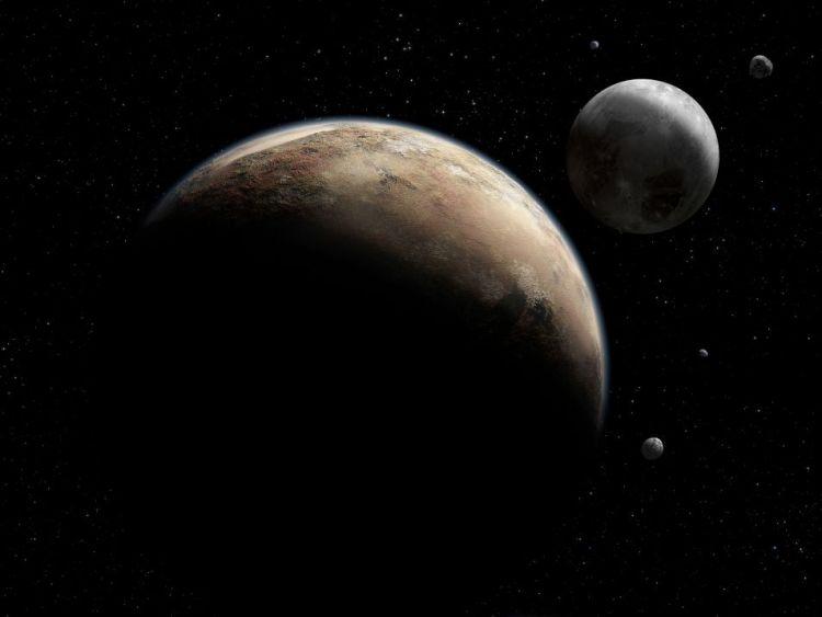 Artistieke impressie van Pluto (voorgrond) en Charon. Charon is grijs, terwijl Pluto roodbruin is.