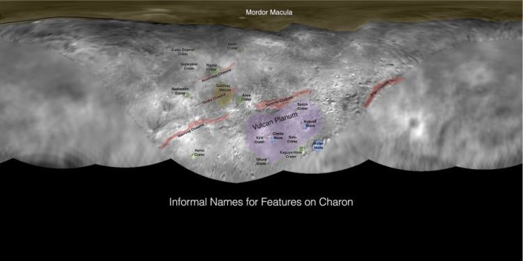 De geologische structuren en hun namen op Charon. Klik voor een vergroting. Afbeelding: NASA / Johns Hopkins University Applied Physics Laboratory / Southwest Research Institute.