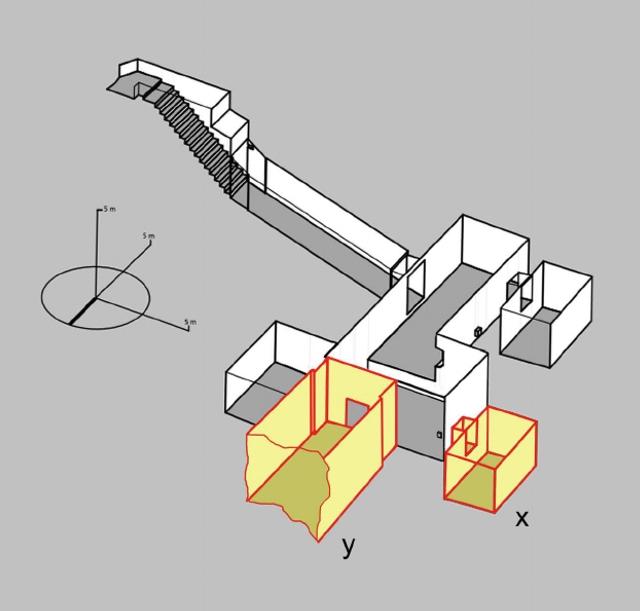 De grafkamer van Toetanchamon zou toegang geven tot twee ons nog onbekende kamers. Een opslagruimte (x) en een tweede grafkamer waarin mogelijk Nefertiti begraven ligt (y). Afbeelding: © Theban Mapping Project.