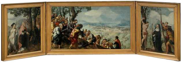 Het Van Lokhorst-drieluik met als onderwerp de intocht van Jezus in Jeruzalem.