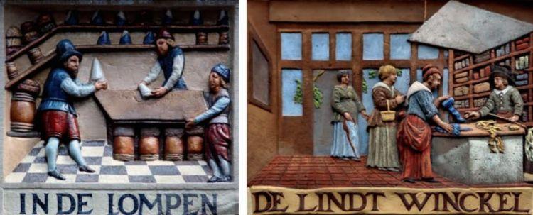 Links: Gevelsteen van een suikerwinkel. De toonbank is gemaakt van een simpele suikerkist. Rechts: Deze 17de-eeuwse gevelsteen geeft een beeld van het interieur van een lintwinkel.