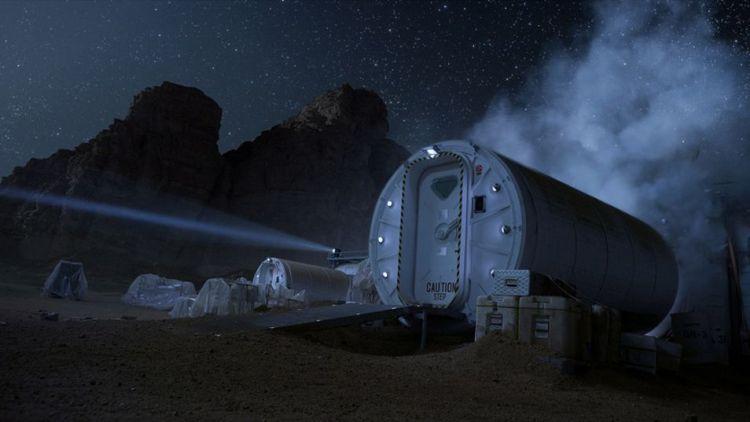 De Hab, de leefmodule waar astronaut Watney verblijft.