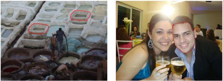 Twee bewerkte foto's. Op de eerste foto is het gemarkeerde element gedupliceerd. Op de tweede foto is een ander gezicht geplakt.