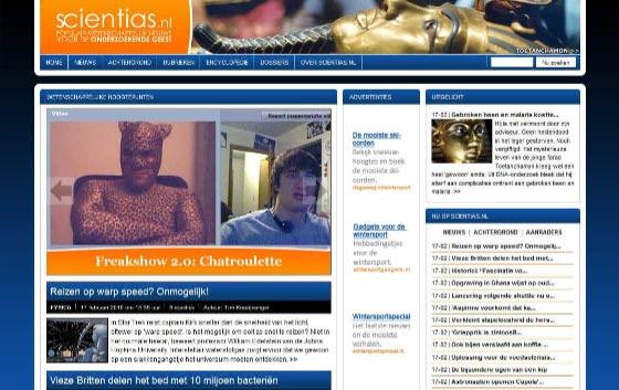 Kun je je dit nog herinneren? Zo zag Scientias.nl er in eerste instantie (eind 2009) uit.