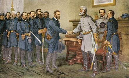 Na de Amerikaanse burgeroorlog verzoenen noord en zuid zich met elkaar. Robert Lee (rechts) schudt (namens het zuiden) Ulysses Grant (namens het noorden) de hand.