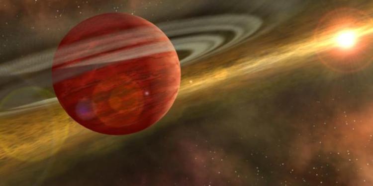 Een artistieke impressie van een planeet zoals HD 106906b. Afbeelding: NASA / JPL-Caltech.