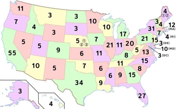 Zo waren de kiesmannen tijdens de verkiezingen van 2004 en 2008 verdeeld. Afbeelding: Scott5114 (via Wikimedia Commons).
