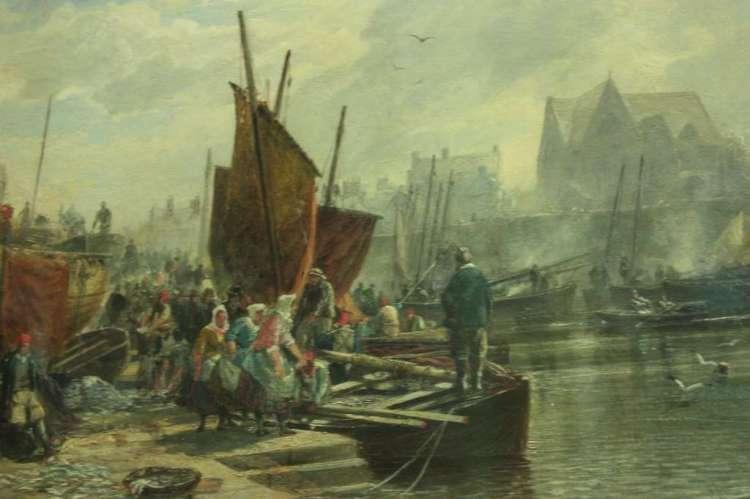 De basisschool waarbij de resten van de vermeende piraat zijn aangetroffen, bevindt zich nabij de Newhaven Harbour. Die haven zie je hier in vroeger tijden. Schilderij: Sam Bough.